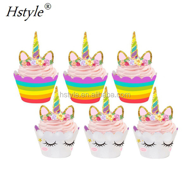 Unicorn Rainbow Cake Toppers Cupcake Wrappers Birthday Party Decoration Baby Shower Supplies PQ103