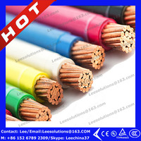 600V cooper/CCA conductor/PVC sheathed TW/THHN/THW fire resistant cable 14,12,10,8,6 AWG