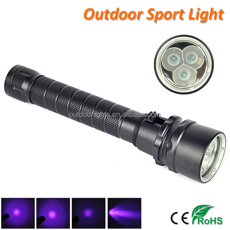 LED Waterproof Aluminum Alloy 10W UV 395nm Torch Flashlight