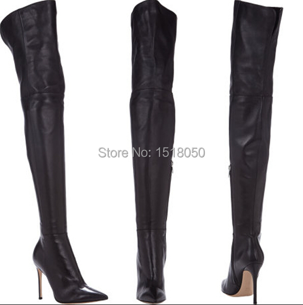09f5748c525d Get Quotations · hot selling sexy pointed toe thigh high boots high quality black  leather over the knee high