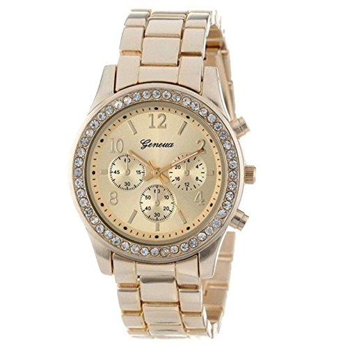 FAPIZI Clearance{Women Crystals Watch}Silver Rose Gold Waterproof/Faux Chronograph/Quartz Plated/Classic Round Watch