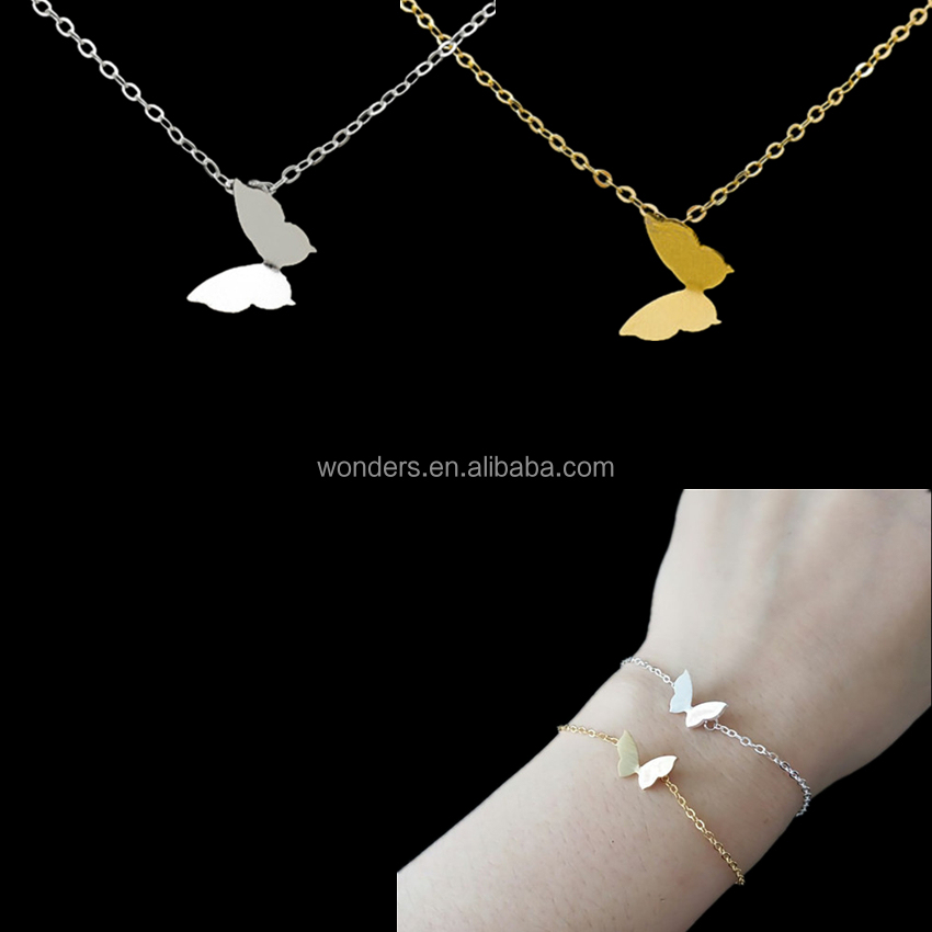 Fashion Jewelry 18K Gold Silver Plated Butterfly Jewelry Set Stainless Steel Necklace Braclet Jewerly Set