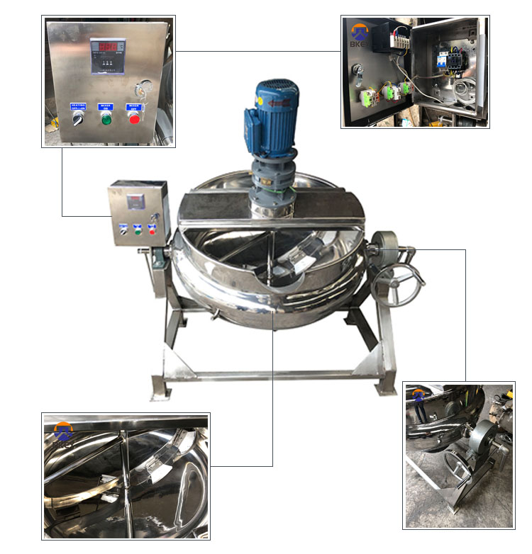 Stainless Steel Tilting Jacketed Kettle with Mixer Cooking Pot for Sauce