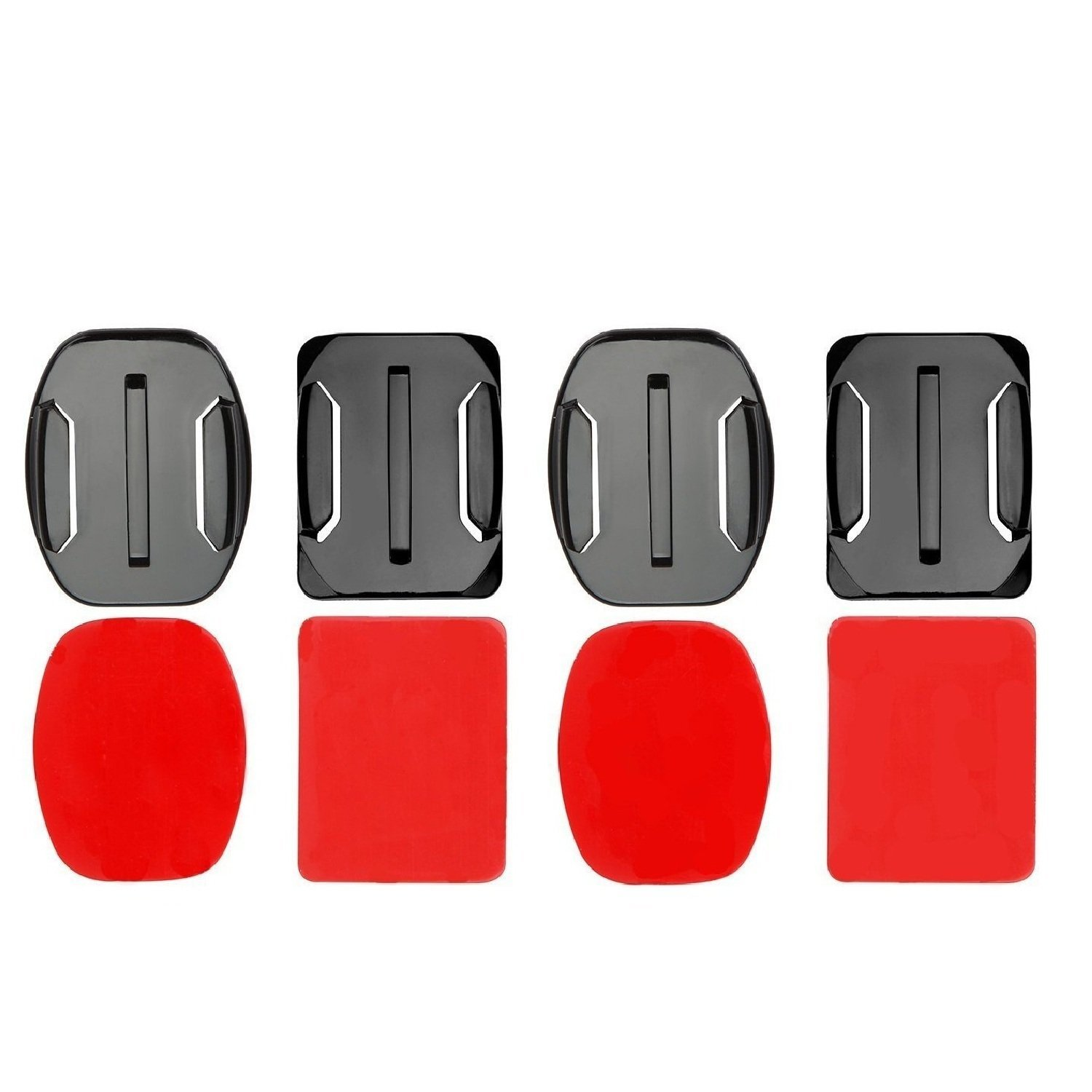 [Best Adhesive Mounts] Flat + Curved Adhesive Mounts with 3M Sticky Tape for Gopro / DBPOWER / AKASO / APEMAN Action Camera,Suitable for Helmet Skiboard Snowboard Surfboard(Camera not included)