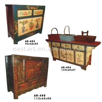 Tibet painted style antique furniture cabinet