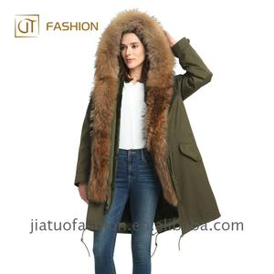 2018 New Arrival winter jacket fur parkas wholesale big raccoon real fur hood rex rabbit lined military jackets women fur coat