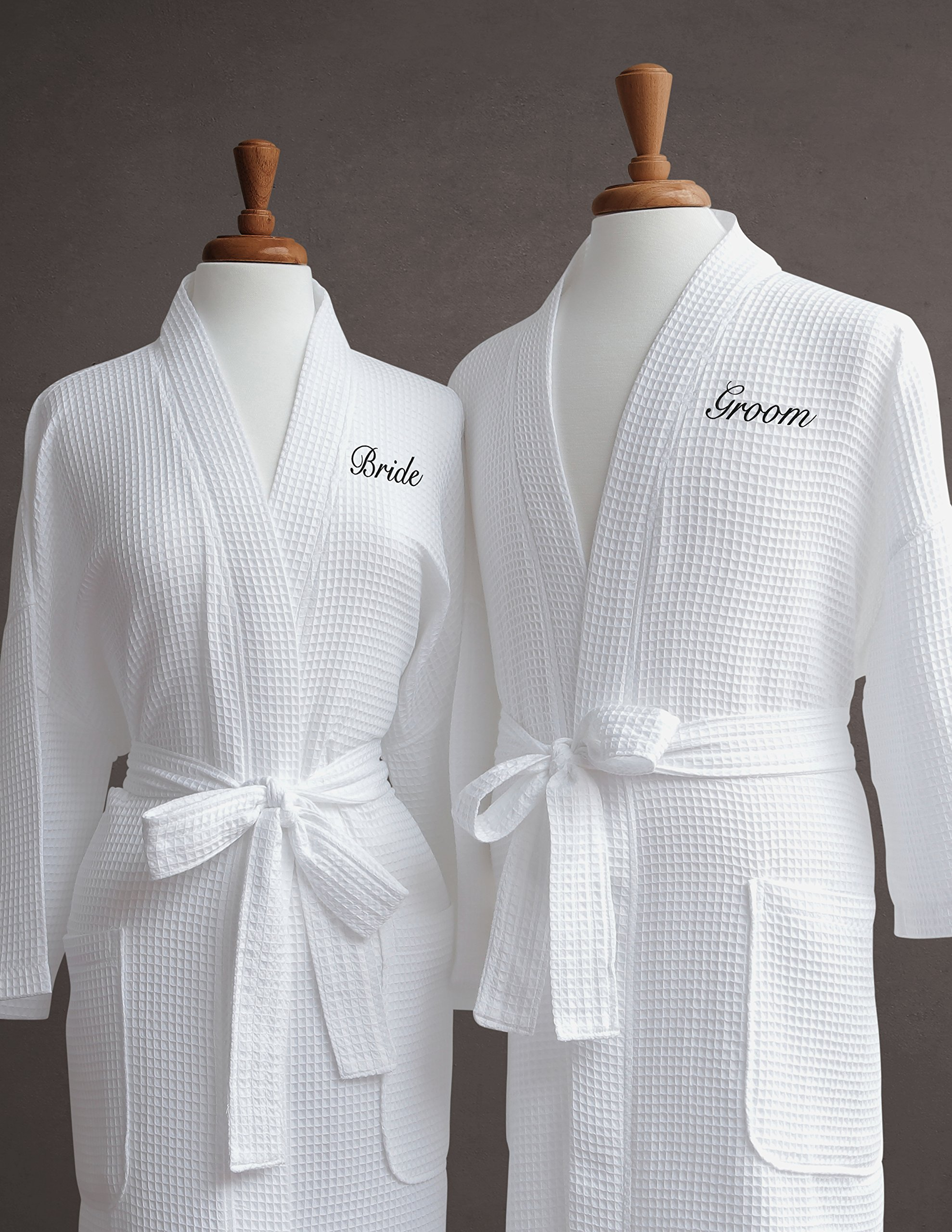 Buy Luxor Linens Egyptian Cotton Bridegroom Waffle Weave Robe