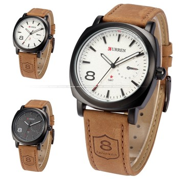 bfcef14e65a2 CURREN Fashion Black Dial Brown Leather Strap Men Wristwatches Military  Quartz Male Casual Watch