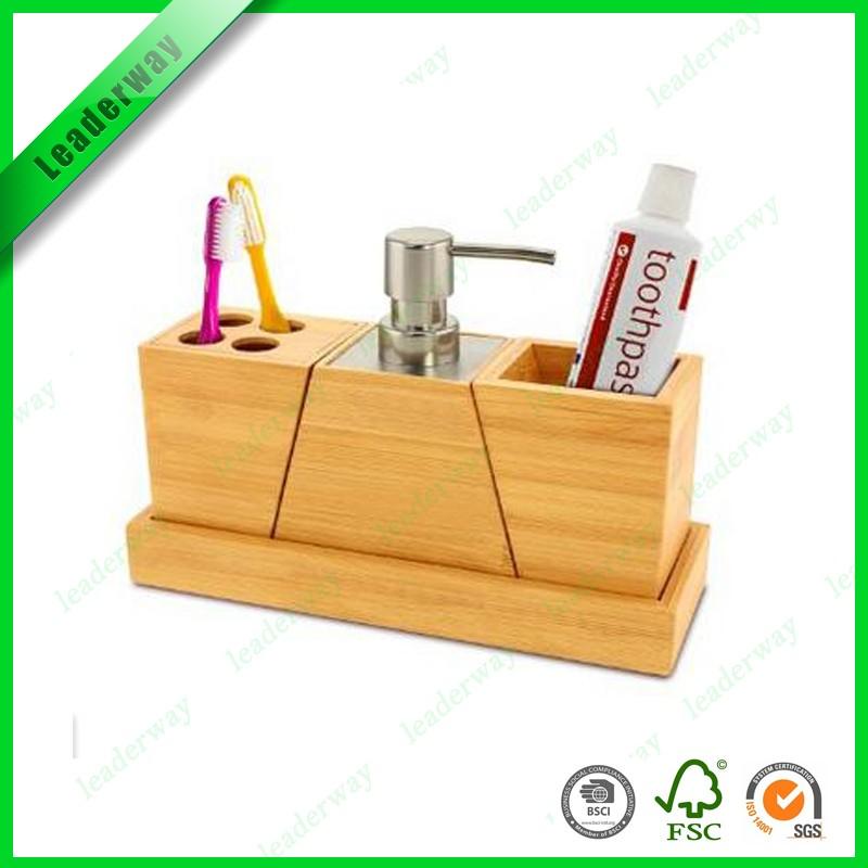wholesale china small bath items wood plastic bathroom accessories set