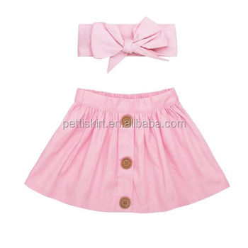 2abe92adc65d Latest Designer Cotton Skirt Kids Girl Short Dresses Matching Headband Sets
