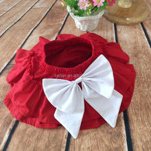 The newest design for baby girl ruffle raglan red color elastic tutu divided skirt with big bowknot plain color adorable pants