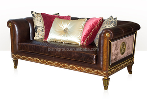 Antique Victorian Style Two Seat Leather Sofa with Gold Foil, Royal Classic Living Room Sofa BF11-10312d