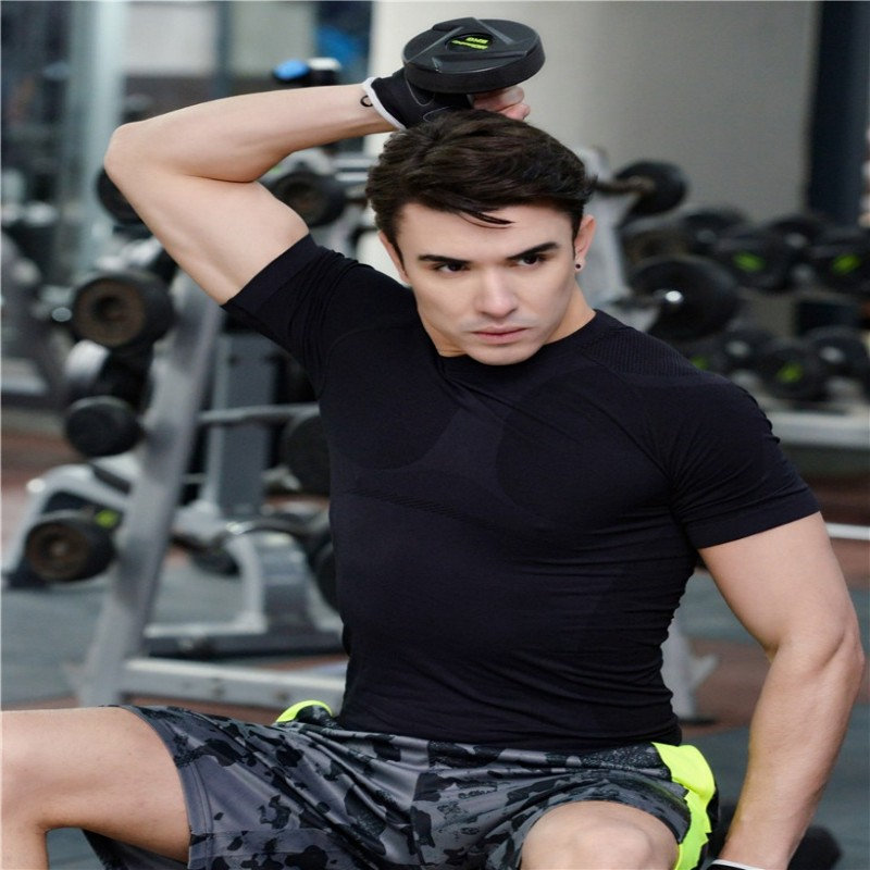 Men's Gym Sport Running T Shirt Fitness Muscle Quick Dry Stretch Clothing