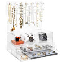 3 Layer Large Clear Acrylic Jewelry Box Organizer with samll rods
