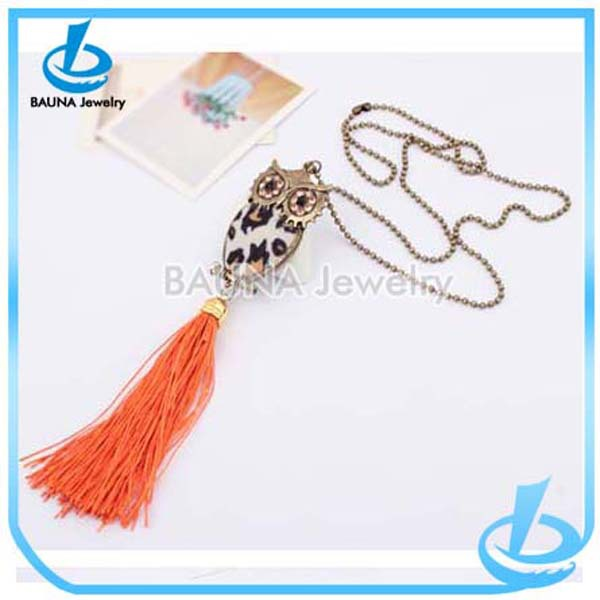 Wholesale owl shape tassel gold cartoon pendant kids necklace