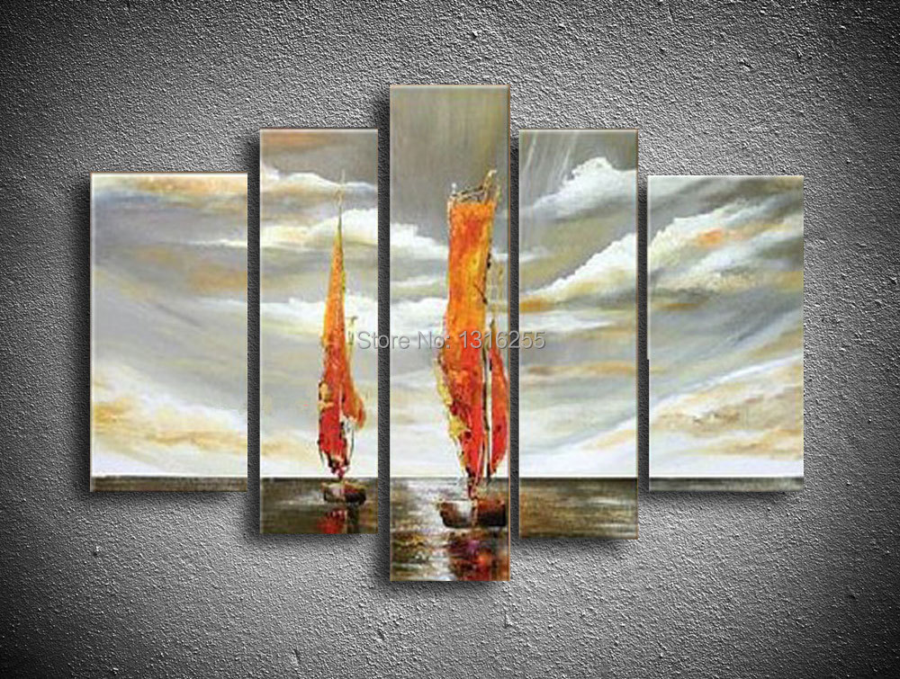 hand-painted modern Landscapes Scenery Seascape sailing sunset boats boating oil painting western  Home decoration 5pcs/set