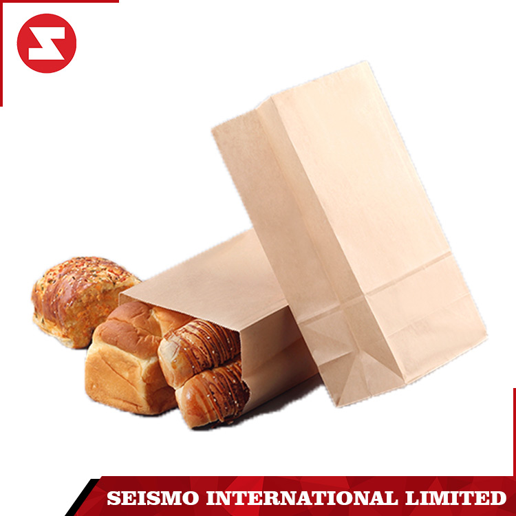 Eco burger bread greaseproof snack bread brown kraft packaging paper lunch bag with logo