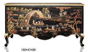 Luxury Chinoiserie Style Noble Black Solid Wood Carved Console Table for Living Room BF11-03281e