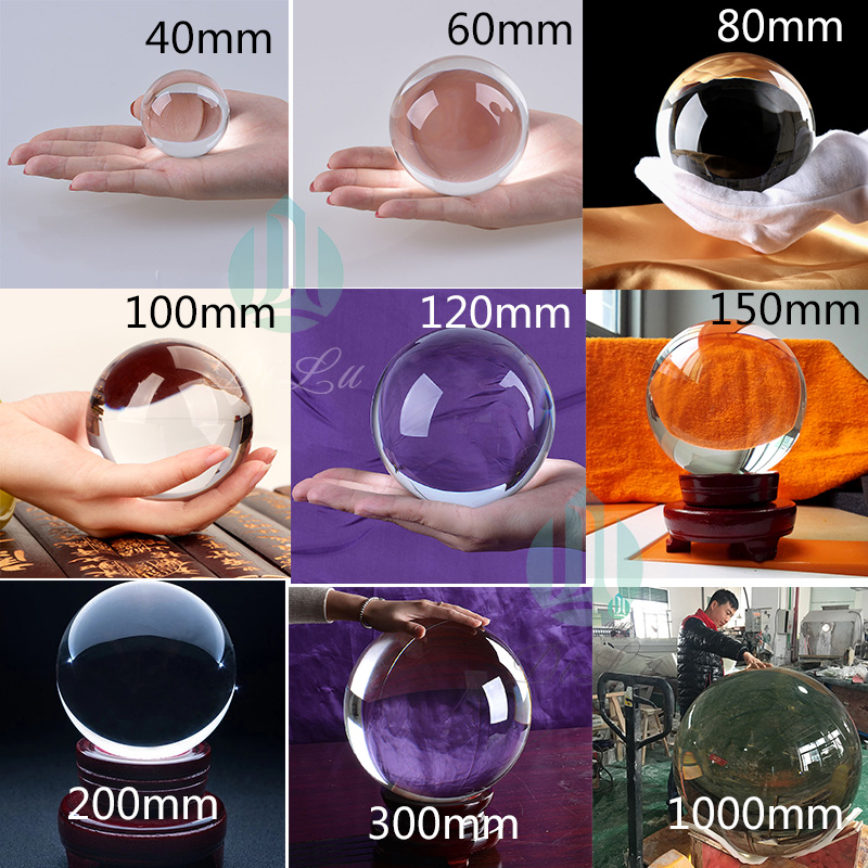 Wholesale high quality clear 40mm 60mm 80mm 100mm 120mm 200m 300mm 500mm 1000mm sphere Solid Glass K9 photography Crystal Ball