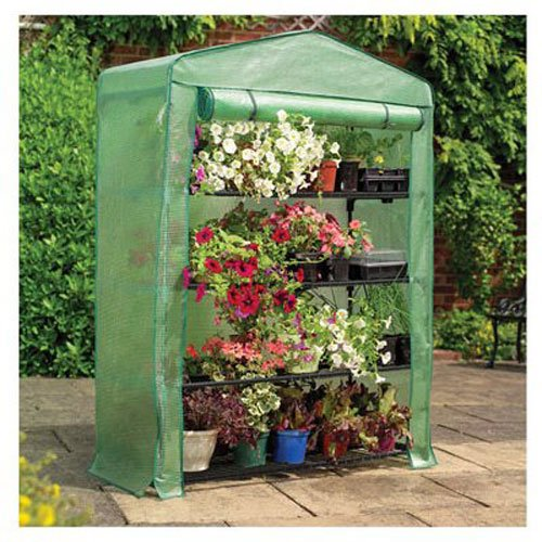 """Gardman 7600 Extra Wide 4-Tier Greenhouse with Reinforced Cover, 18"""" Long x 47"""" Wide x 63"""" High"""