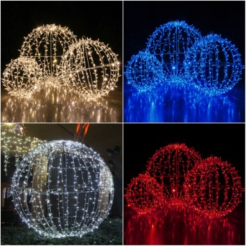 folding light sphere light up white led christmas spheres for outdoor christmas decoration - Light Up Christmas Decorations
