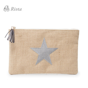 Custom Gift Sliver Star Woven Jute Pouch Cosmetic Clutch Bag