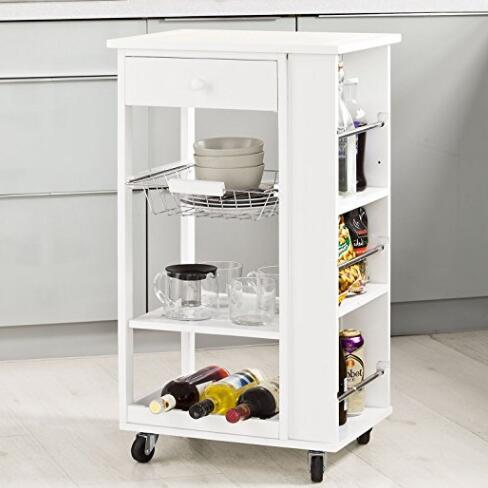 White Wooden Kitchen Storage Serving Trolley Cart with 3 Side Shelves Removable Mesh Basket