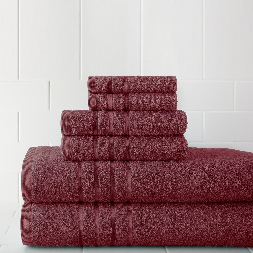 Pacific Coast Textiles 5CPKTL6G 600 GSM Spa Collection 100% Cotton Solid Towel Set, Rose, Standard (6 Piece)