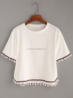 Lastest clothing short sleeve o-neck crop top for women CK013