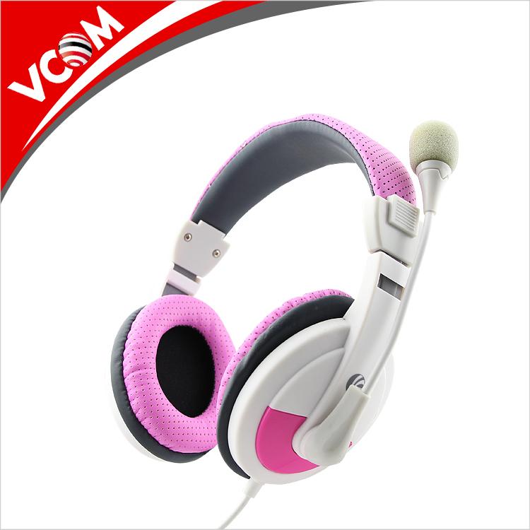 VCOM wired colorido funcional amostra grátis rohs headband PC fone de ouvido com microfone preço de fábrica