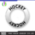 "CN186416 Yiwu Huilin jewelry wholesale Connectors Circle/ Ring Antique Silver ""Hockey"" Charms & Pendants"