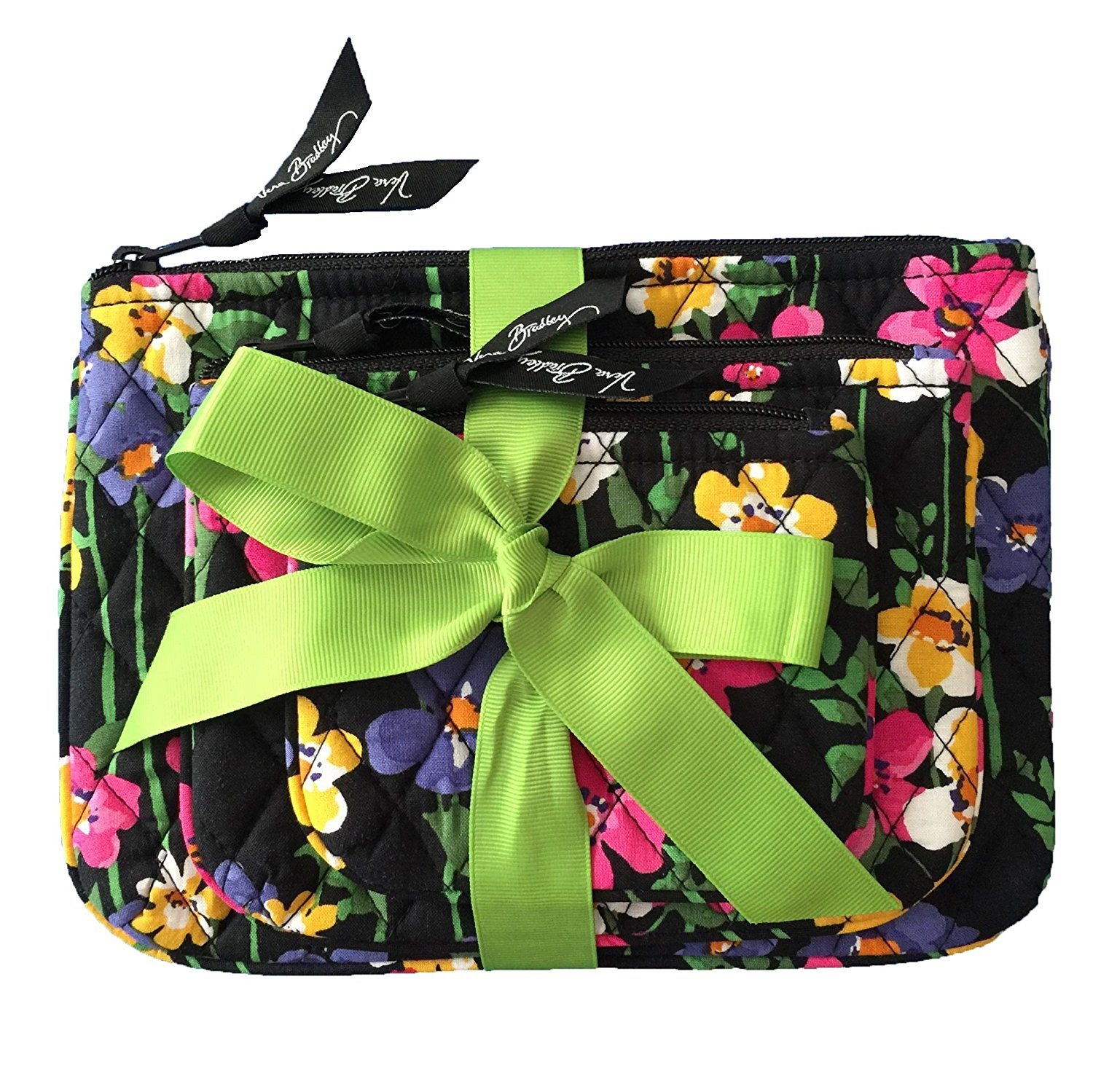 Get Quotations · Vera Bradley Cosmetic Trio Wildflower Garden with Solid  Black Lining 150adc0a0125d