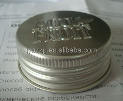embossed custom logo aluminum screw silver cap lid for candle bottle jar