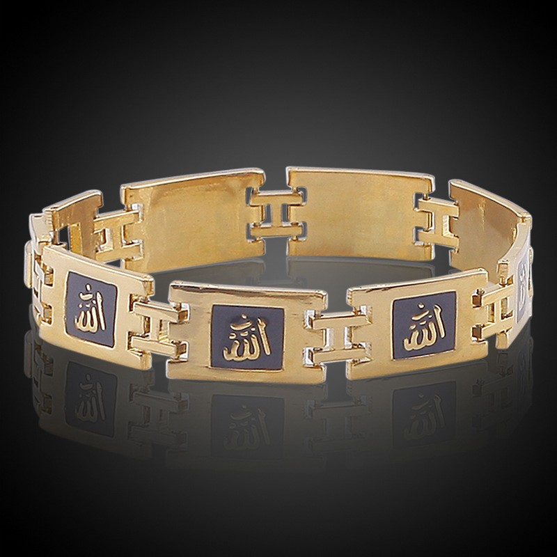Retro Orientale Gold Bracelet Designs Men 18k Plated Ornament Hindu Religious Gifts Wedding Chain