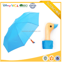 2017 New Collection Wooden Duck Head Handle Ladies Compact Susino Umbrella