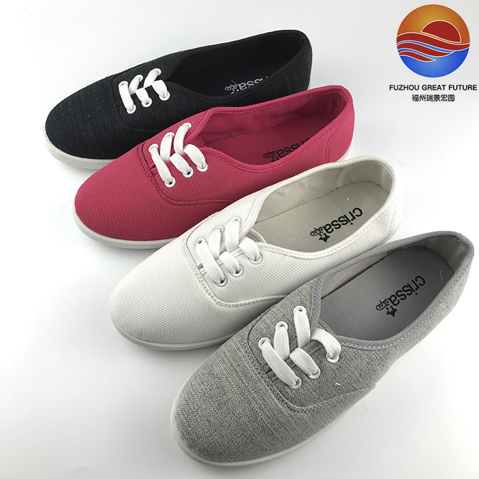 Bulk Wholesale Simple Style Canvas Upper Flat Women Shoes