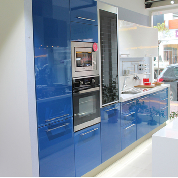 Trlife Mdf Panel Painted Dark Blue High Gloss Lacquer Small Kitchen
