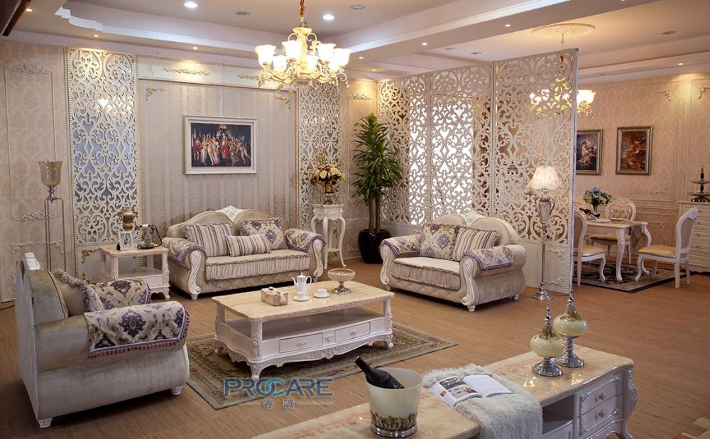 European Style 3 2 1 Seater Fabric Armchair Sofa Set Living Room