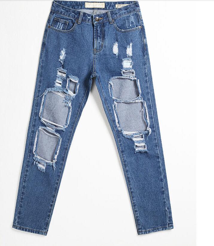 7683fa15bcac Get Quotations · Fashion Women Plus Size Vintage Holes Ripped Jeans Denim  Blue Sky Blue Black Female Retro Jeans