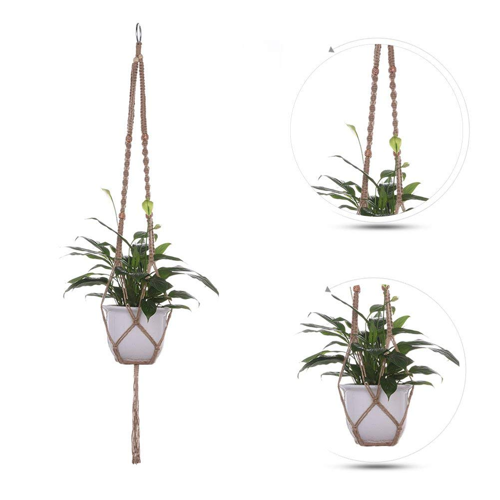 Sundlight Set of 2 Plant Hanger with Beads Macrame Ceiling Plant Holder Handmade Indoor Outdoor Cotton Rope without Vase