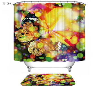 Bird rose lotus zen bath curtains bathroom wholesale printed christmas fabric 3d design butterfly shower curtain