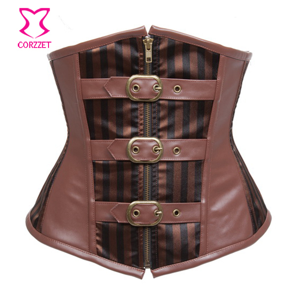 5b5ea08ee3 Buy Brown Leather amp Satin Striped Pattern Steampunk Sexy Corset Underbust  Steel Boned Waist Training Corsets Slimming Cincher With Zip in Cheap Price  on ...