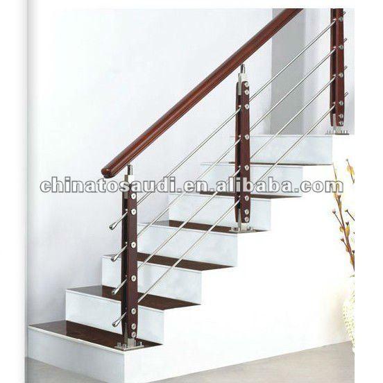 Barandilla de acero inoxidable con pasamanos de madera - Pasamanos de acero inoxidable para escaleras ...