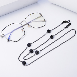 Austria Block Black Agate Crystal Women Metal Stainless Steel Eye Glasses Spectacle Chain Strap Holder,Sun Glasses Chain To Hold