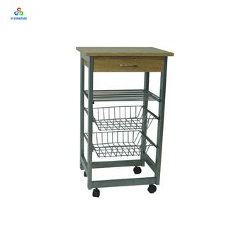 Mobile Kitchen Metal Vegetable Storage Cart Baskets Fruit Trolley With Drawer
