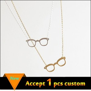 Fashion jewelry cute silver/gold eyeglasses pendant korean charms for necklace