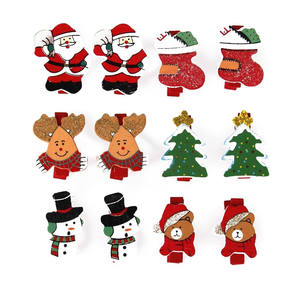 Tinksky Christmas Pattern Mini Wood Clothespins Wooden Pegs Note Memo Paper Clamp Clips -12pcs
