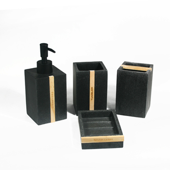Bathing Products Personalized Black Sandstone Polyresin Bathroom Accessories Set with Tooth Brush Holder With Wood