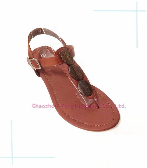 Wood Beads Handmade Upper Sandals Casual For Ladies