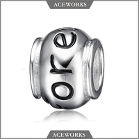 LH2024 Aceworks Wholesale 925 Sterling Silver Charm Jewelry Silver Forever Engraved Bead